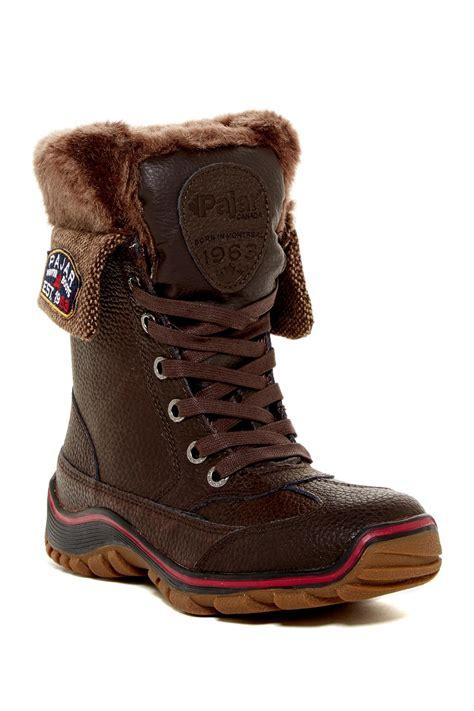 pajar fur boots pajar waterproof faux fur lined boot in brown lyst