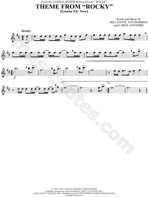 theme song to rocky quot theme from quot rocky quot quot from rocky sheet music alto