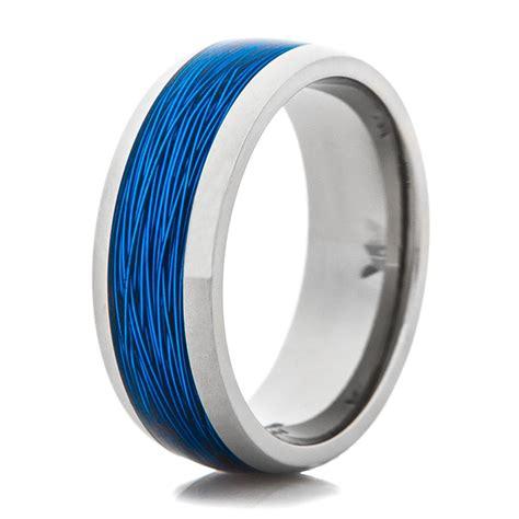 titanium ring with blue fishing line inlay titanium buzz