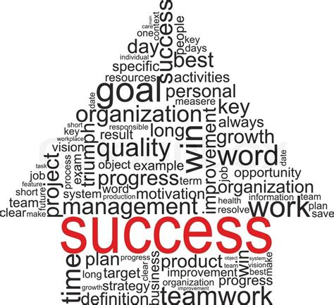 success concept related words in tag cloud isolated on white arrow with different association