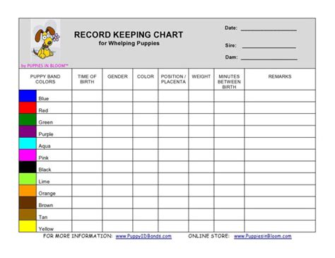 puppy weight chart template record keeping charts c j s pup