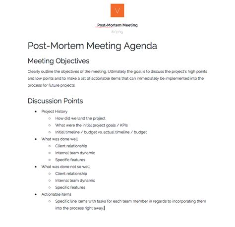 project post mortem template hosting post mortem meetings 101 verbal visual