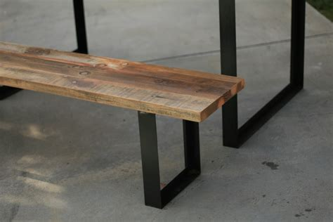 bench with metal legs arbor exchange reclaimed wood furniture outdoor table