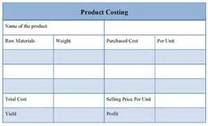 product costing template of product costing sle