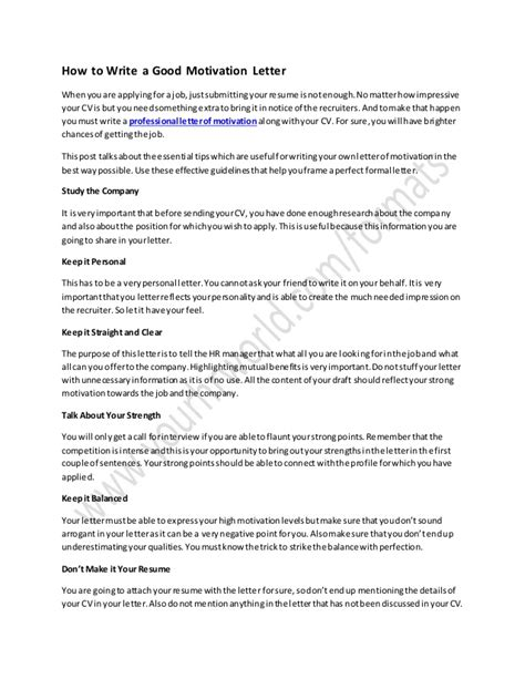 resume and motivation resume ideas