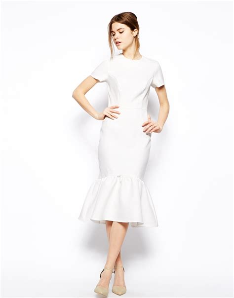 Dress White Dress 0147 Qjc 1 Lyst Asos Pencil Dress With Peplum Hem In Texture In White