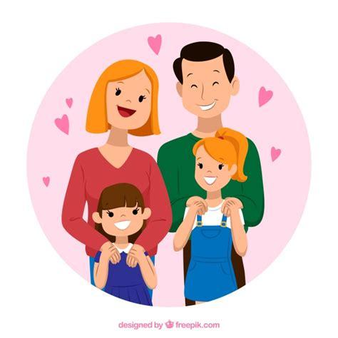 imagenes vectores familia fondo de adorable familia en estilo vintage descargar