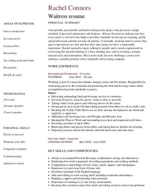 Waitress Resume Template 6 Free Word Pdf Document Downloads Free Premium Templates Waitress Resume Template Word