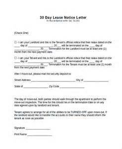 30 Day Notice Letter by Sle 30 Day Notice Letter 7 Documents In Pdf Word