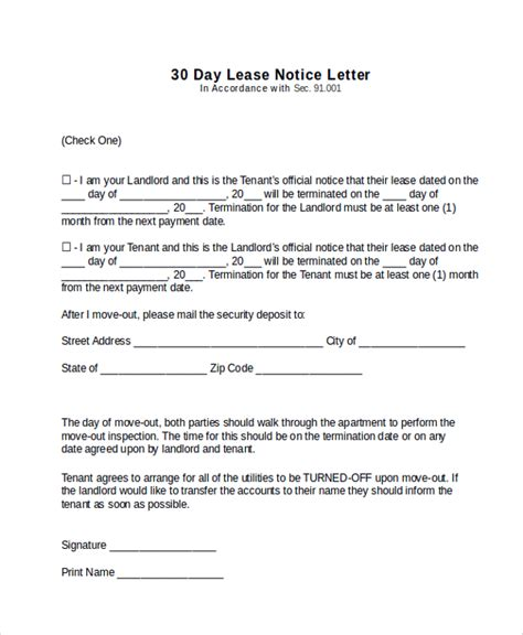 30 day notice template sle 30 day notice letter 9 documents in pdf word