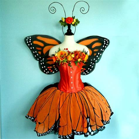 Butterfly Skirt Orange costume monarch butterfly costume corset bust