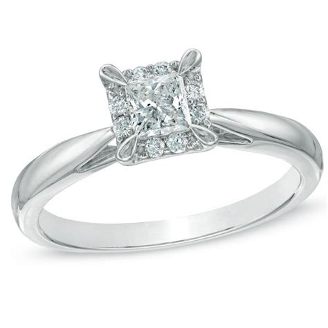 Inexpensive Engagement Rings by Queenly Halo Engagement Ring 0 25 Carat Princess Cut