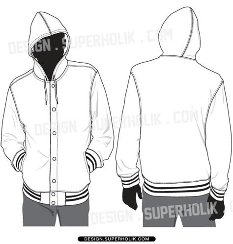 bomber jacket design template hooded varsity jacket template vector set fashion vector