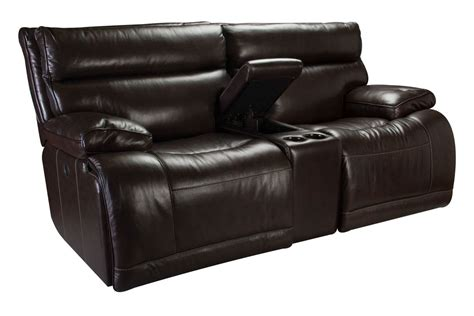 reclining power loveseat bowman leather power reclining loveseat with console at