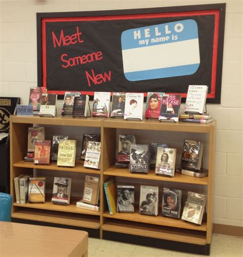 themes stored in library zeppelin quot meet someone new quot library book display bulletin board
