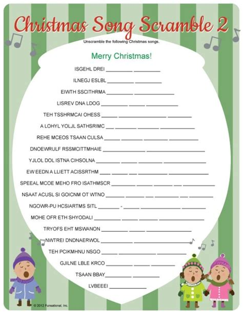 printable holiday games christmas song scramble