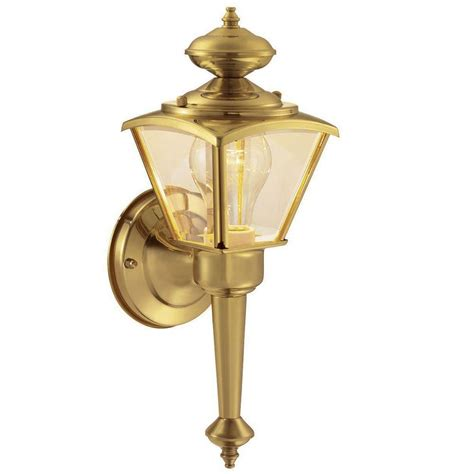 polished brass outdoor lighting hton bay 1 light polished brass outdoor wall lantern