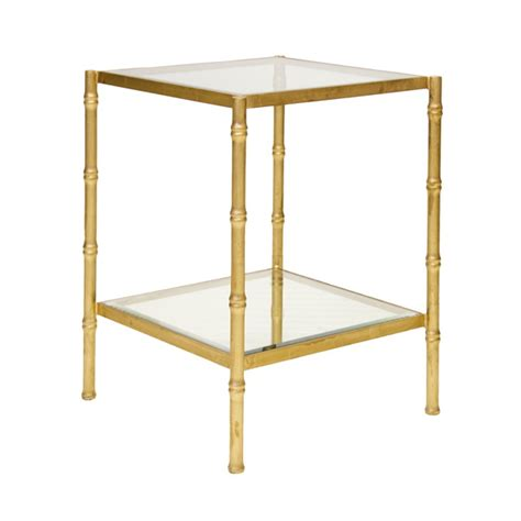 gold glass side table away serena gold leaf bamboo side table with clear