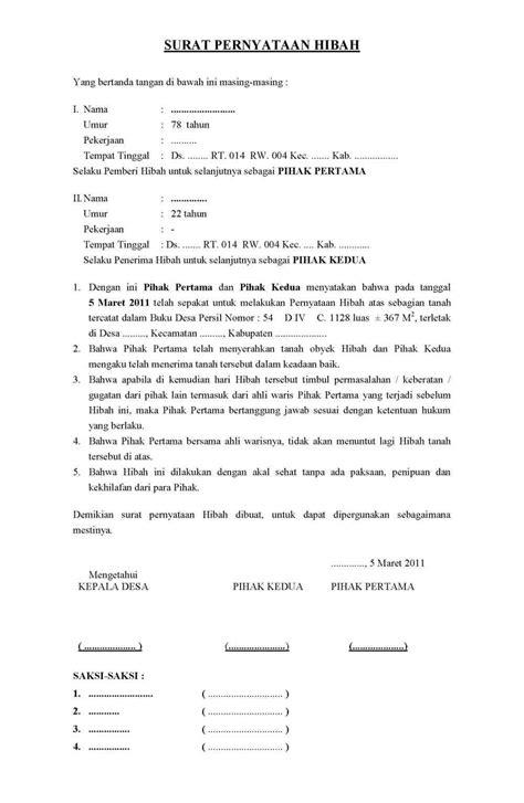contoh surat resmi surat pernyataan hibah tanah