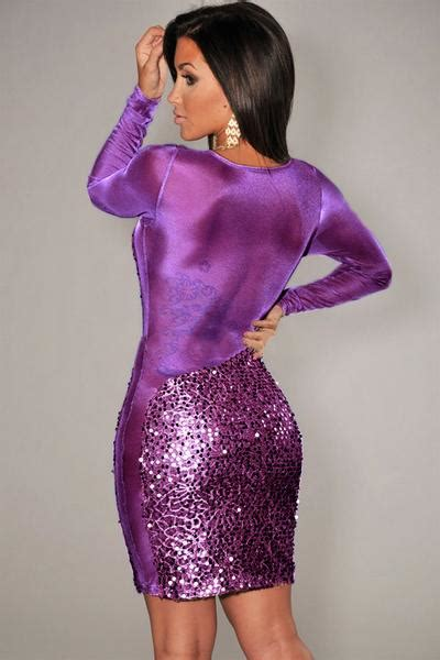 stunner sequined long sleeves purple bodycon womendress