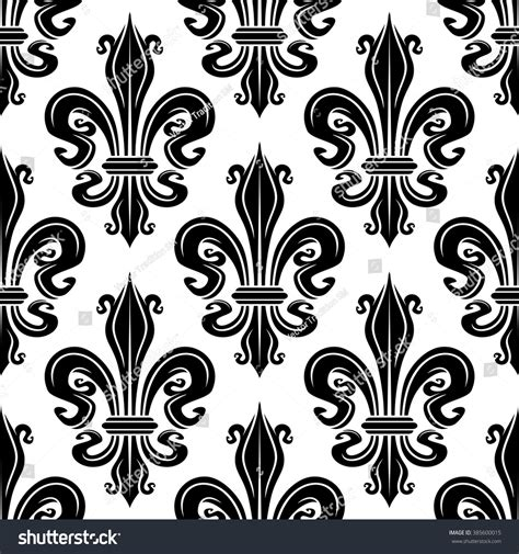 black and white french pattern seamless french royal lilies black white stock vector