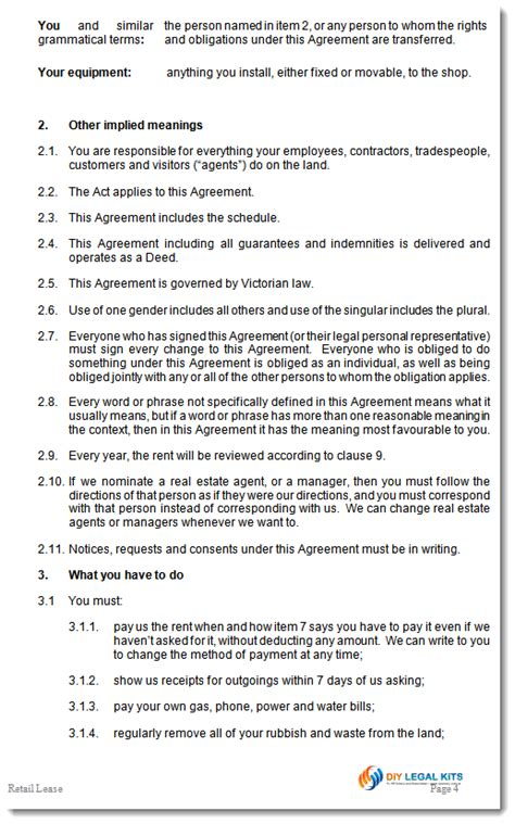 Free Tenancy Agreement Template Download retail tenancy shop lease agreement victoria