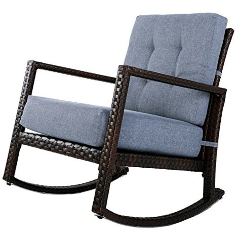 glider armchair merax cushioned rattan rocker chair rocking armchair chair