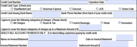 credit card payment details template credit card authorization form template