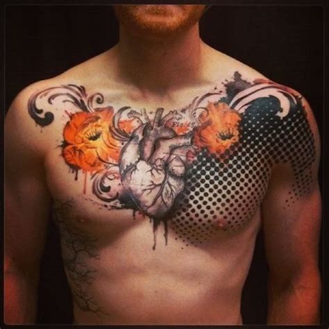 heart chest piece tattoo designs top 144 chest tattoos for