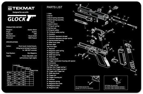 1911 parts diagram mat tekmat glock pistol gun cleaning mat with exploded parts