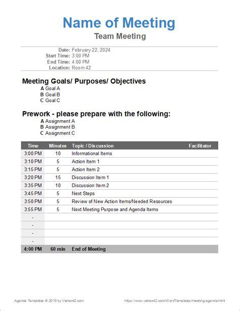 meeting agenda templates word  google docs