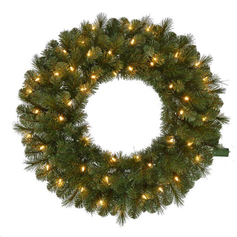30 In Pre Lit Led Wesley Pine Artificial Christmas Wreath Outdoor Lighted Wreaths