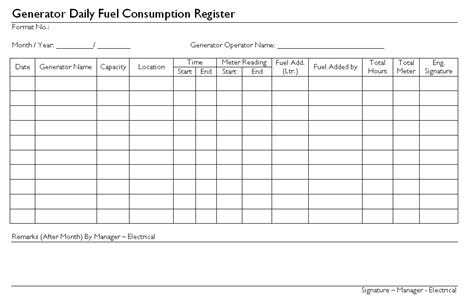 fuel card register template generator daily fuel consumption register format sles