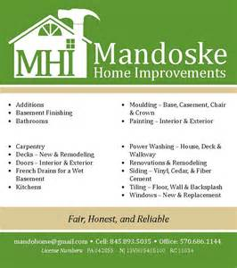 home improvement business cards mandoske home improvement andrea wentzell