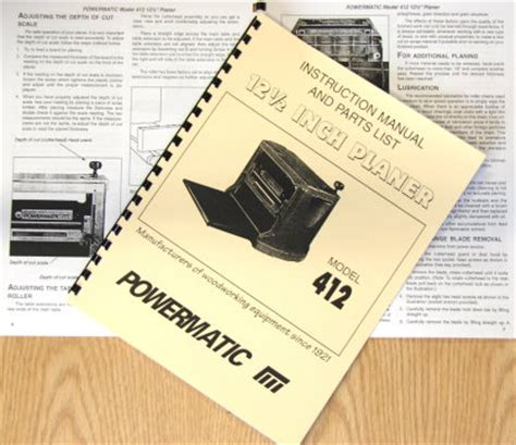 Powermatic Model 412 12 5 Quot Wood Planer Instructions And