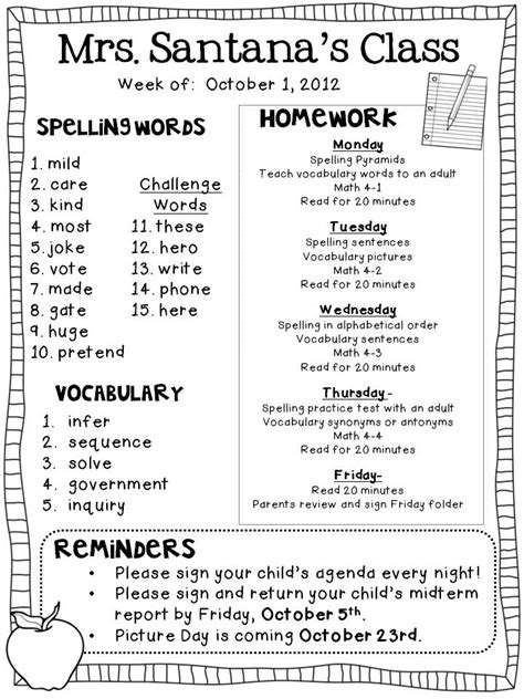 weekly homework template weekly homework freebie the learning tree