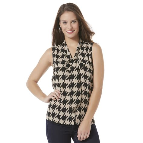 Blouse Houndstooth s sleeveless tie front blouse houndstooth