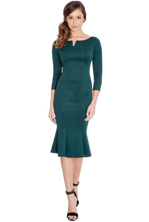 Hem Square Green fluted hem dress in emerald green berry