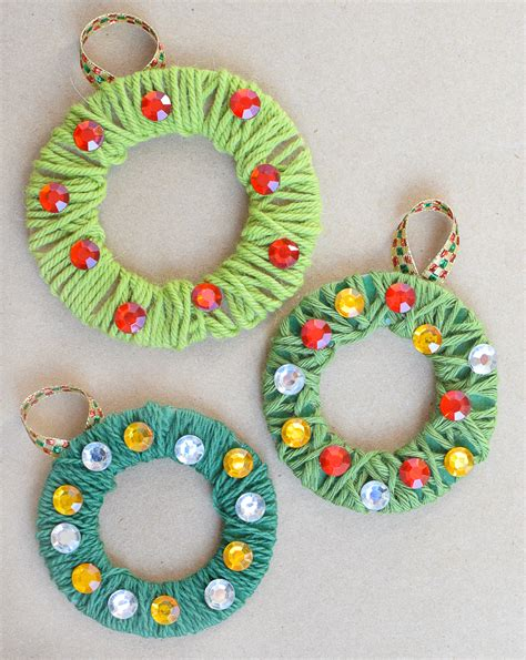 wreath crafts for yarn wrapped wreath ornaments what can we do