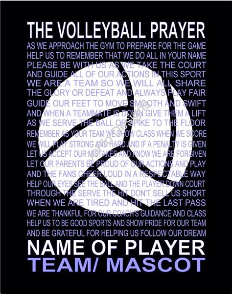 printable volleyball sayings the volleyball prayer personalized with volleyball senior