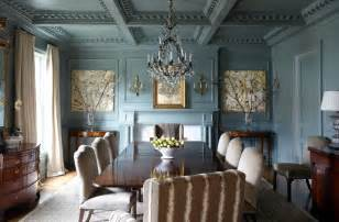 French blue paint dining room traditional with gilded framed artwork