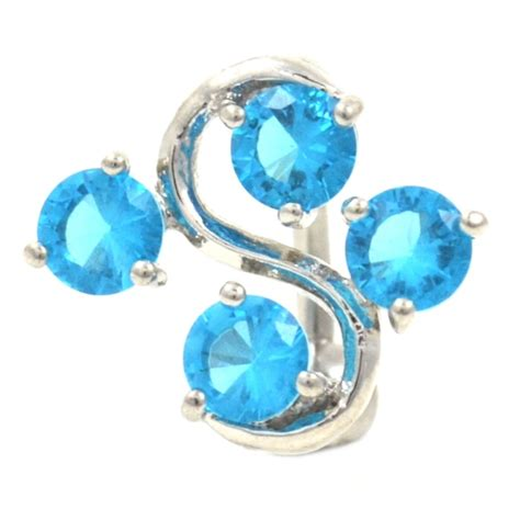 Top Aqua Spiral Glass Diffuser 25mm aqua 4 gem vine belly ring bodydazz