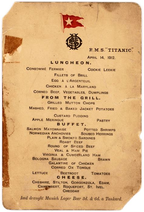 titanic first class menu titanic s last lunch menu up for auction