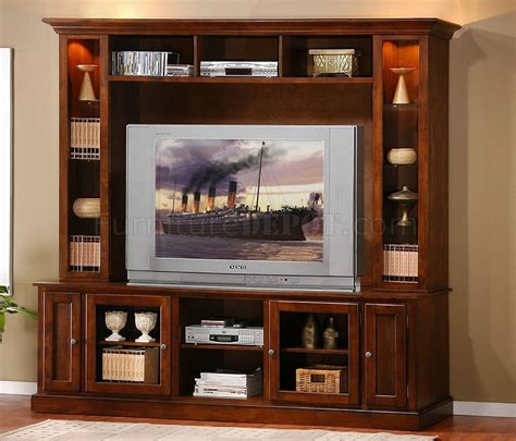 Wall Units With Glass Doors Merlot Oak Finish Classic Wall Unit W Glass Doors Lights