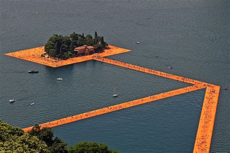 floating piers artist christo s floating piers on italy s lake iseo is