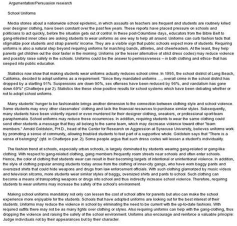 Persuasive Essays On School Uniforms by School Persuasive Essay Write A Essay
