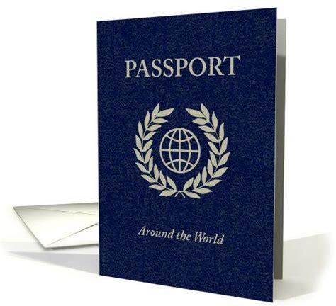 around the world party passport invitation card 5 year