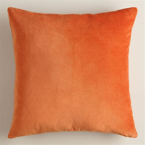 burnt orange sofa pillows burnt orange velvet throw pillow world market