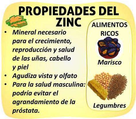 que alimentos contienen zinc propiedades zinc