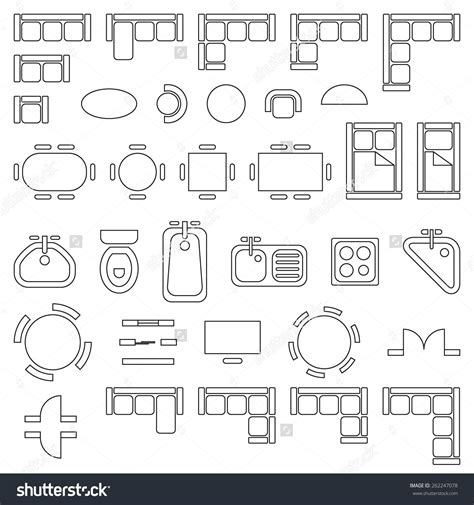 design icons furniture standard furniture symbols used in architecture plans